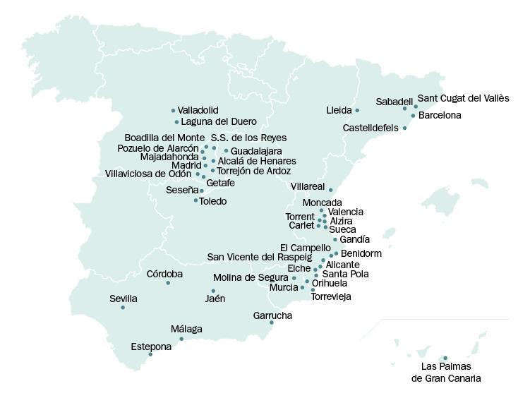 Mapa de las Solvia Stores